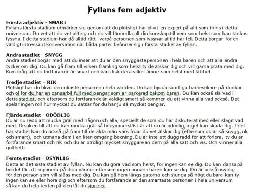 Fyllans fem adjektiv