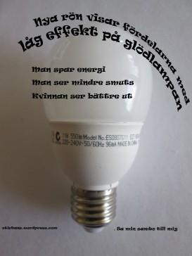 Låg effekt på glödlampan Sa