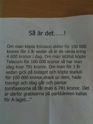 Om man köpte Ericsson aktie