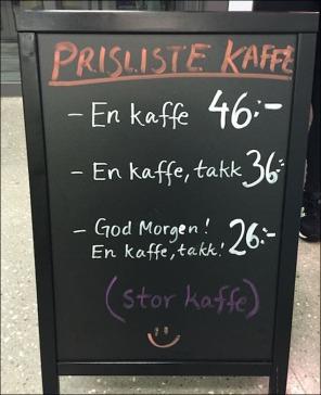 Prislista norskt café