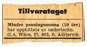 Upphittat 10 öre Ö Ämtervik