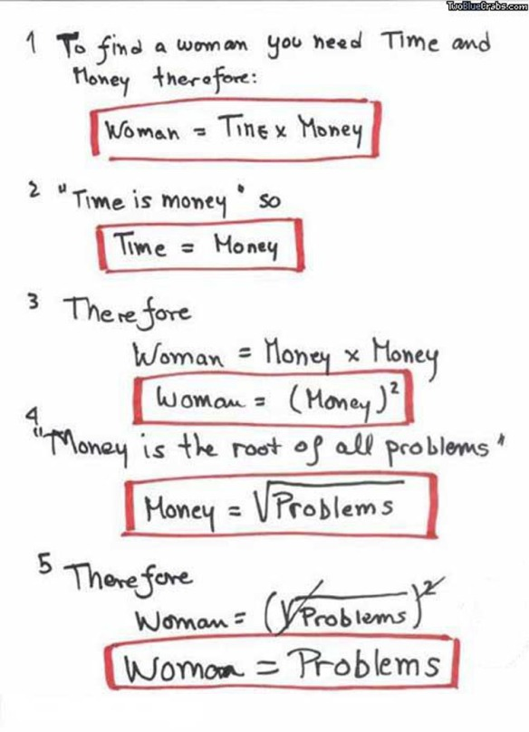 Woman vs money