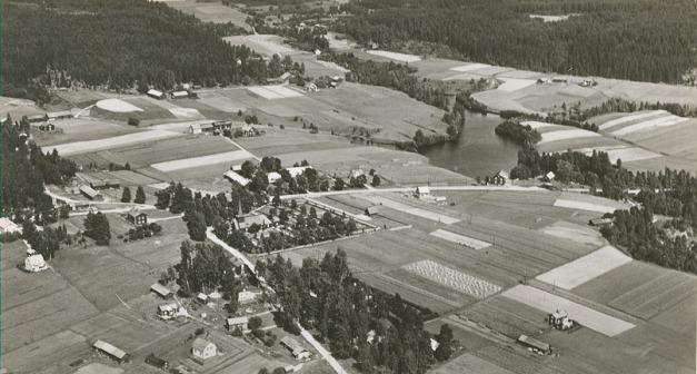 Flygfoto över Sunnemo kyrkbyn 1950-talet