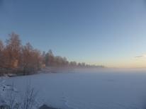 2014-12 Uddeholm Norra gärdet -20 grader Från piren mot söder kall morgon
