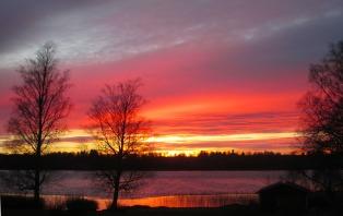 Södra Gärdet, solnedgång från badplatsen