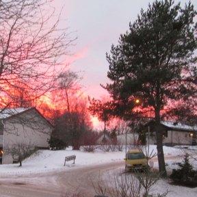 Solnedgång från yttertrappan