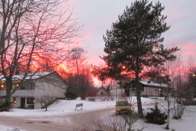 2019-01 06 Solnedgång från yttertrappan